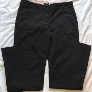 J Crew black cotton straight cut pants